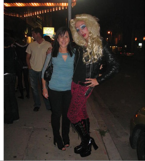 H.S. grad Hedwig & me in front of Milwaukee's Oriental Theater, 2008