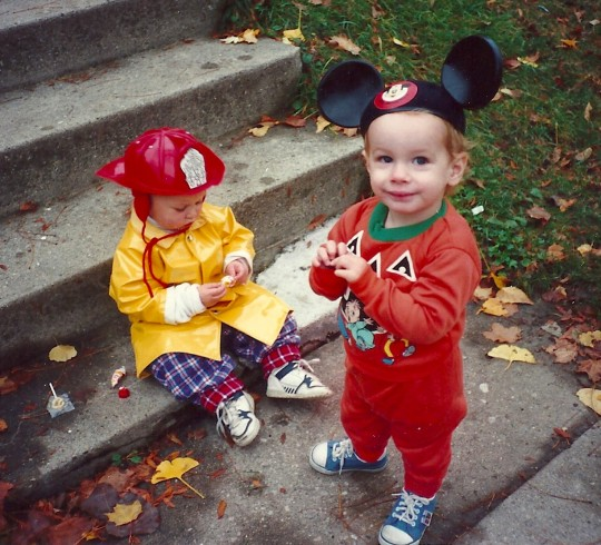 From left, Spencer the Firefighter and Harry the Chipmunk Mouse. Halloween 1991