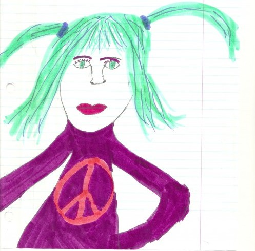 """Green-Haired Peace Girl"" by Harry, age 9, 1999"