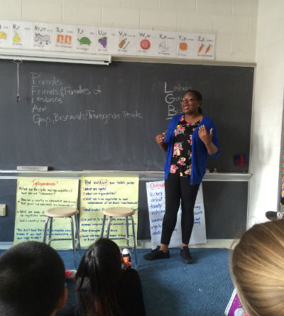 Kalima introduces PFLAG to sixth graders at PS/IS89.