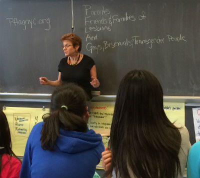 PFLAG Mom Susan shares her story with the class.
