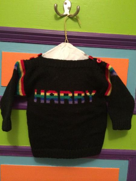 Newborn Harry's rainbow sweater from Jay, 1990.