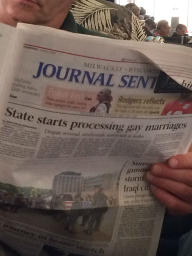 Congrats to all the newlyweds as same-sex marriage is celebrated finally in Wisconsin.