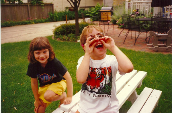 Harry & his BFF after picking raspberries, 1997