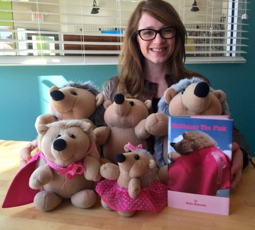 Author Katie Newcomb with Balthazar & family