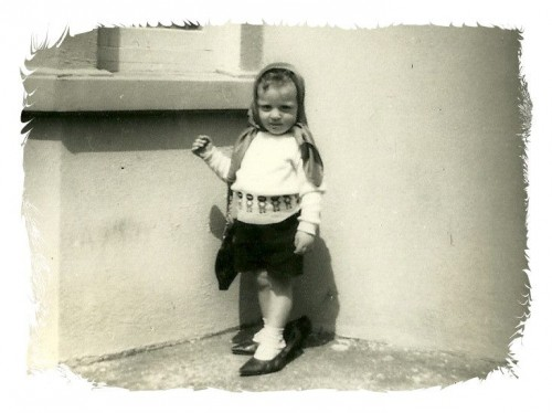 Geoffrey, age 4, in his mom's heels.