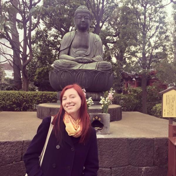 Naomi visits Asakusa Shrine in Tokyo, Japan.
