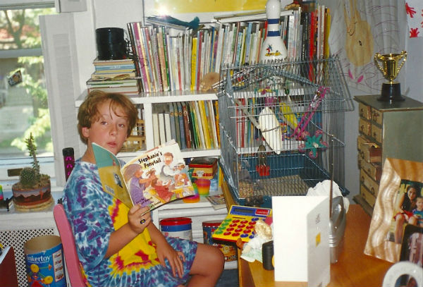 Harry reading to Mango the parakeet, 1999