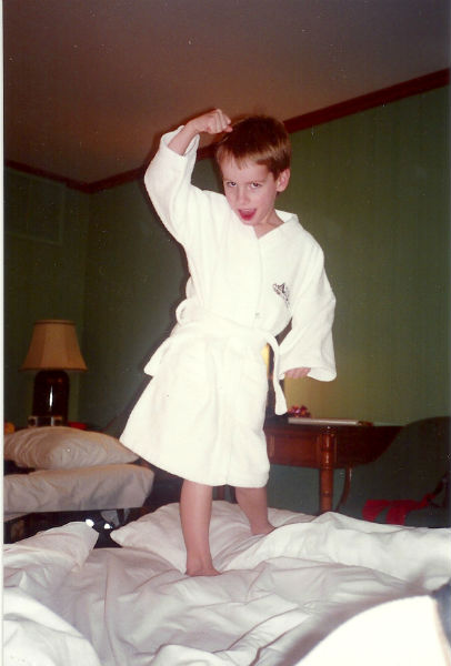Harry as the Karate Kid, January 1995