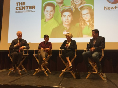 l to r: Moderator Tim Gunn, actors Noah Galvin and Martha Plimpton, writer/exec. producer David Windsor