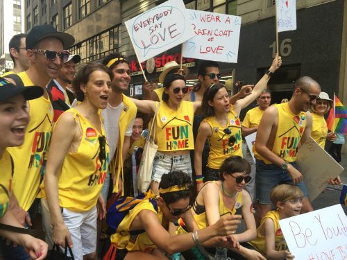Many from FUN HOME cast marched with PFLAG in NYC's Pride Parade 2016